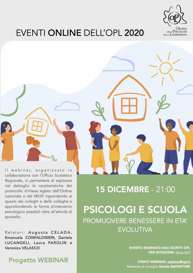 Psicologi E Scuola Promuovere Benessere In Eta Evolutiva Eventi Webinar Opl Ordine Psicologi Lombardia